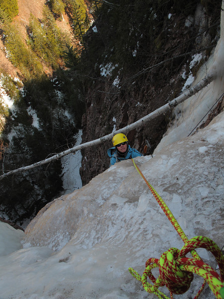 North Shore, MN<br /> Devil's Track River<br /> Nightfall ice climb<br /> Kejal on second pitch