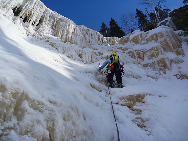 Orient Bay, Ontario<br /> Tempest ice climb<br /> Kejal starting second pitch