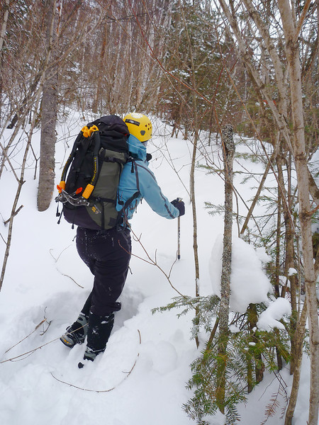 Orient Bay, Ontario<br /> Tempest ice climb<br /> Approach in deep snow conditions