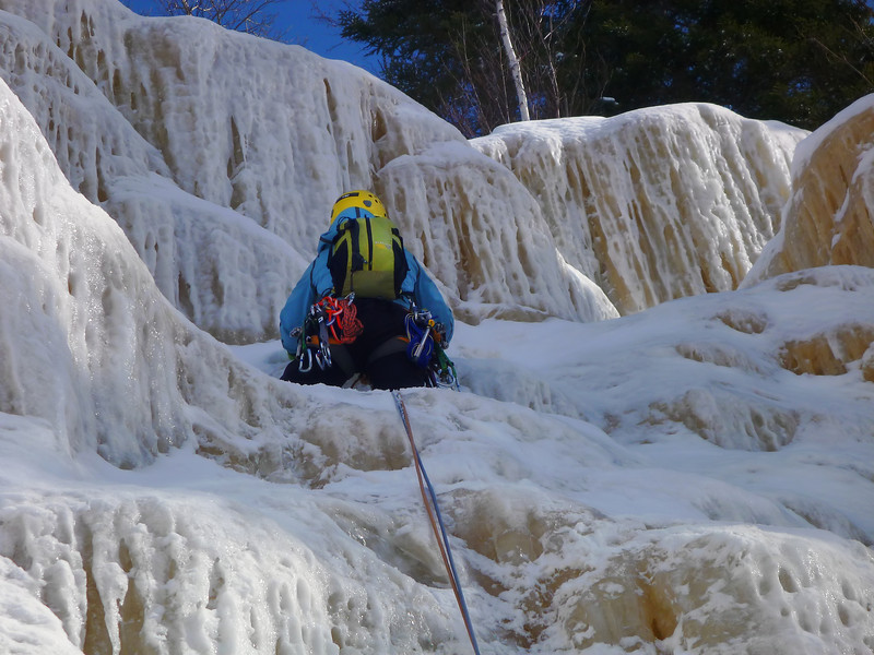 Orient Bay, Ontario<br /> Tempest ice climb<br /> Kejal on second pitch