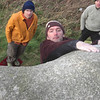 Marc trying Andys new problem on the Snoopy boulder at Carn Brea