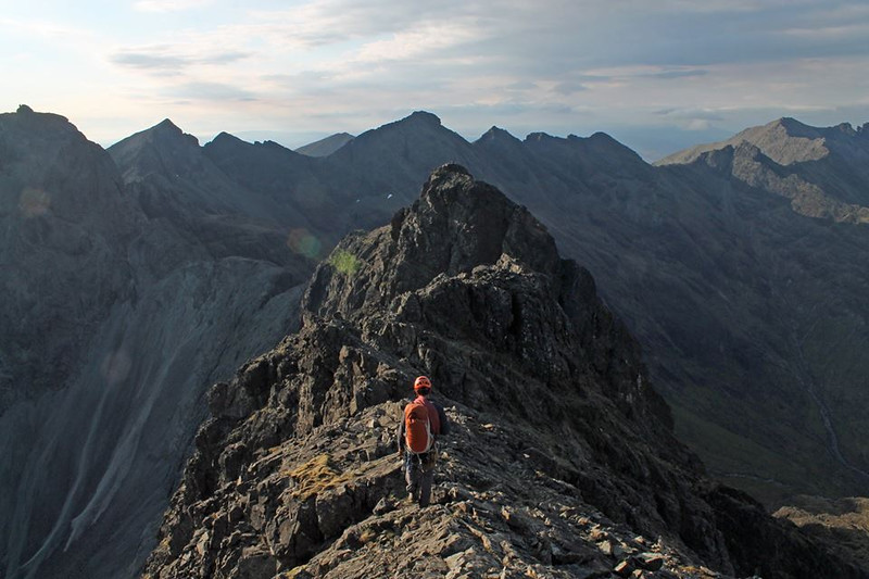 Approaching the summit of Sgurr Mhic Coinnich, with the bealach where we bivved not too far beyond