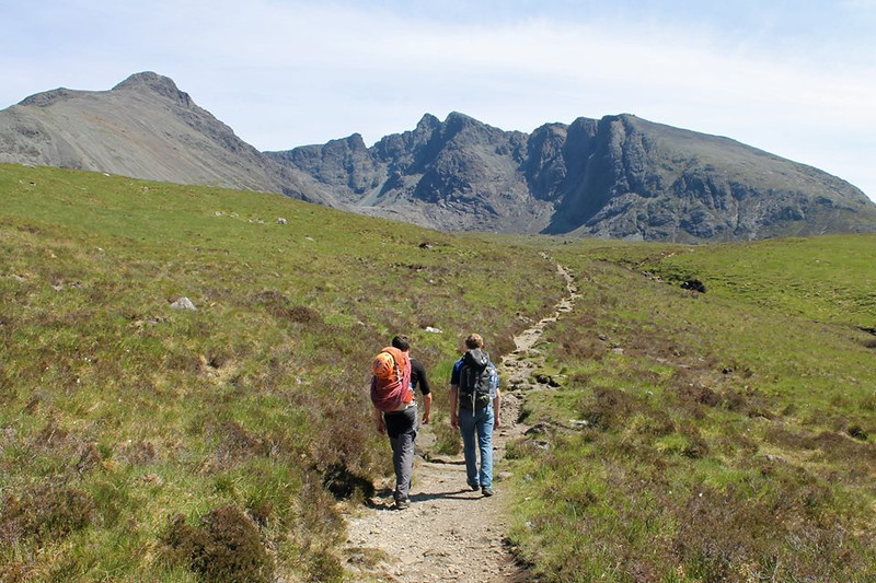 Walking in, with the peak of Sgurr Alasdair central.
