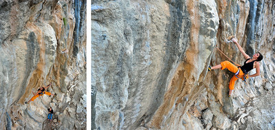 Y Viva Pancho Villa 7a+ (5.12a) @ Pescatore, Telendos Climber: Chloe Minoret