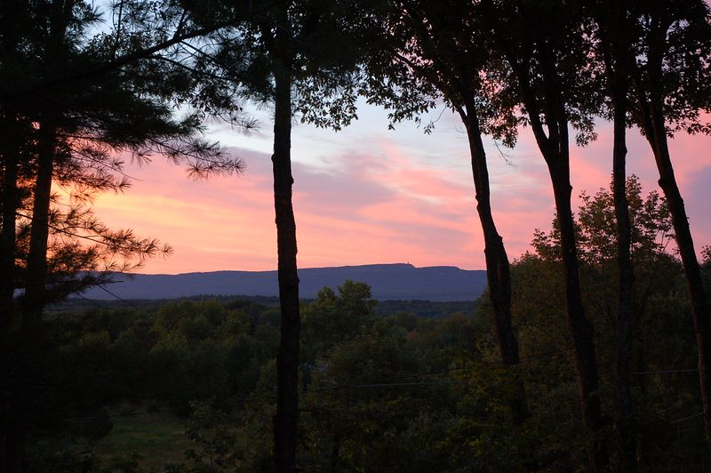 The Mohonk tower from Jeff's porch at sunrise.