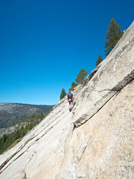 9am - Traversing ledges at the base of Half Dome, to find the start of the route.