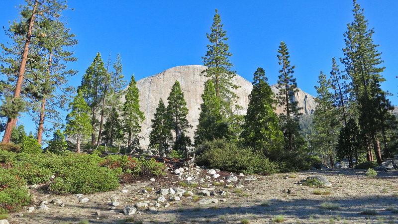 7:30am - Half Dome looming over our shoulder as we hike along the John Muir Trail.