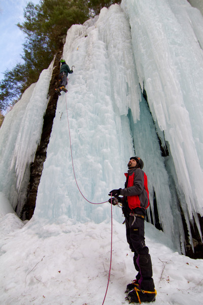 Greg belaying(?) Joe. in the Hell Hole. RIP Mr. Szot, you will be missed.