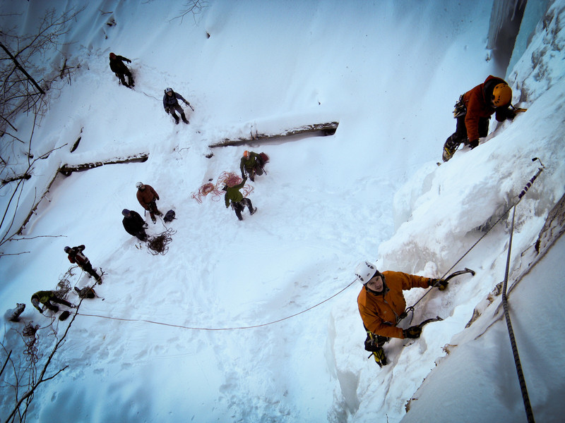 A typical weekend in Buttermilk Falls. Luckily each pitch has a few options and the harder ones are generally free.
