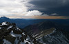 Distant Marlborough Sounds and the North Island under an ominous sky