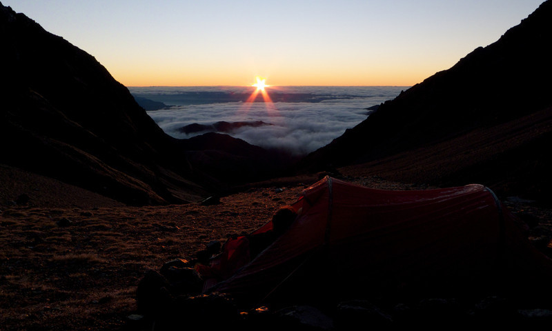 Dawn over camp at 1650m