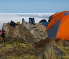 Camp established at 1500m above a sea of cloud
