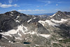 This is Glacier Gorge. Tall peak on the left is Pagoda, the peak on the right is Chiefshead, and the lower peak in the middle is the Spearhead. I hope to climb the Spearhead in September.