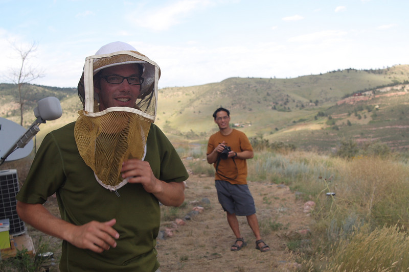 Gabe trying on the bee mask.