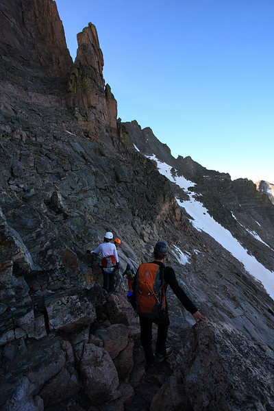 First section after the Keyhole is a traverse across The Ledges. This is where we put our helmets on.
