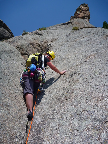 Lumpy Ridge, Estes Park, CO<br /> Batman & Robin<br /> Kejal on second pitch