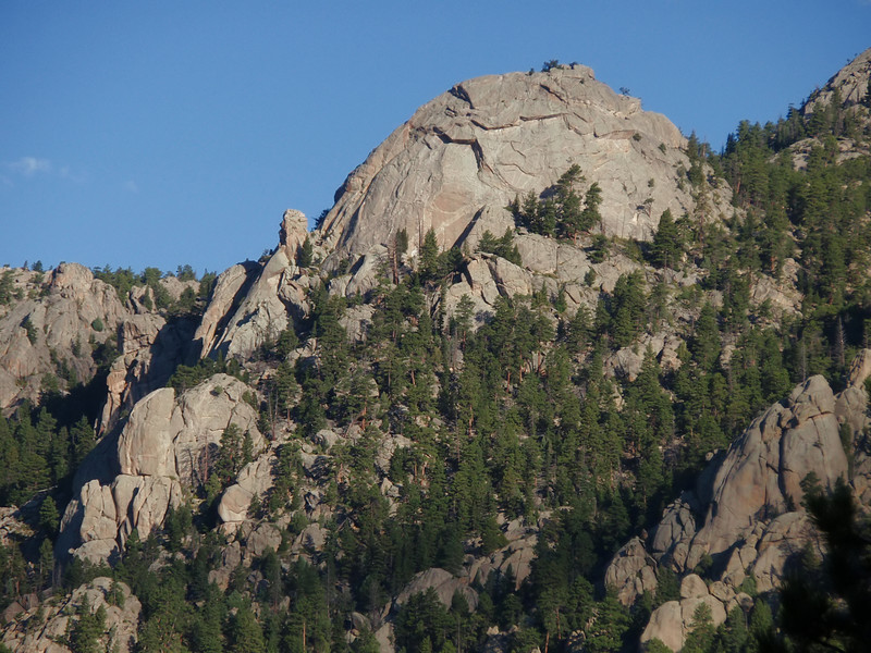 Lumpy Ridge, Estes Park, CO<br /> Batman pinnacle in front of Batman Rock<br /> Batman & Robin follows the slab from the base to the top of the pinnacle, edge of shade and left skyline