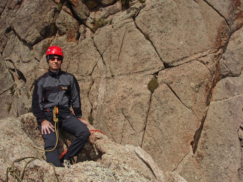 "Lumpy Ridge, Estes Park, CO<br /> Batman & Robin<br /> Orhun on top in the little ""pool""<br /> Climb on my right, Rappel chains off my left"