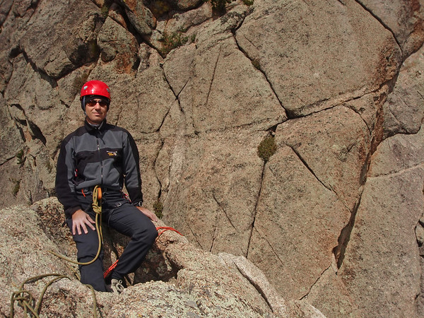 "Lumpy Ridge, Estes Park, CO Batman & Robin Orhun on top in the little ""pool"" Climb on my right, Rappel chains off my left"
