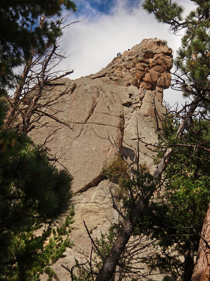 Lumpy Ridge, Estes Park, CO<br /> Batman & Robin<br /> Third patch with others on after rappel<br /> Rappel is off the right skyline