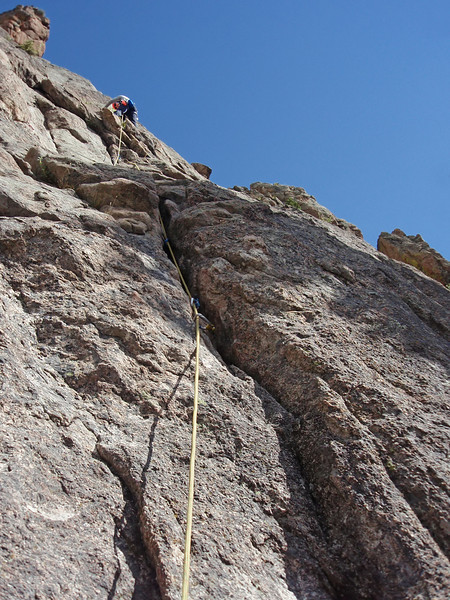 Lumpy Ridge, Estes Park, CO<br /> Batman & Robin<br /> Orhun midway up first pitch