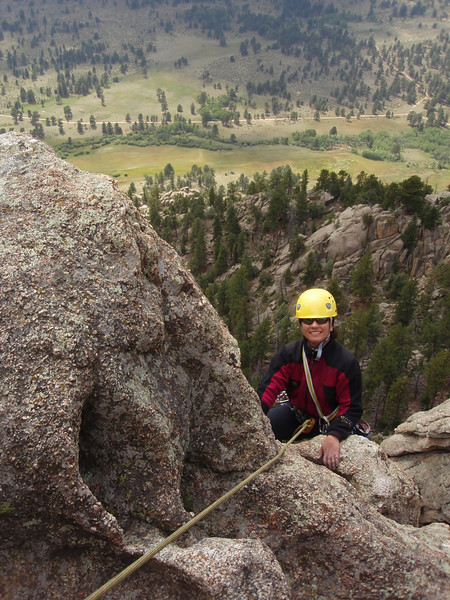 Lumpy Ridge, Estes Park, CO<br /> Batman & Robin<br /> Kejal topping-out third pitch