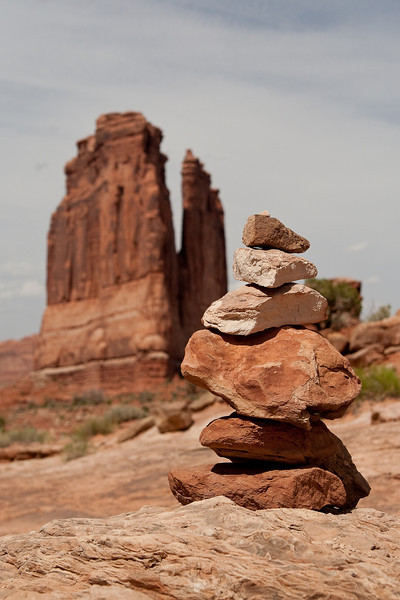 Rock cairn and Courthouse Towers
