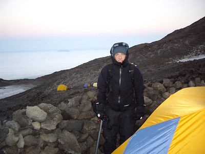Sunday morning, just before leaving for the summit.  It was extremely cold and extremely windy.