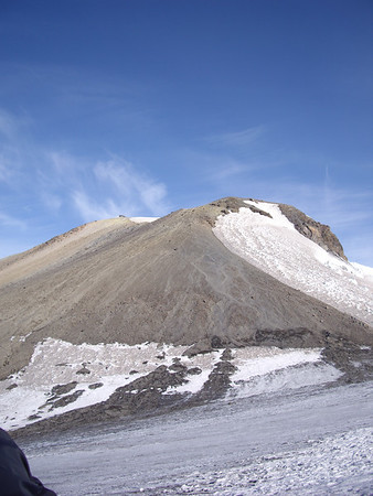 View of the true summit from the false summit, Piker's Peak. We ascended the pumice just left of the snow (Mazama Glacier).