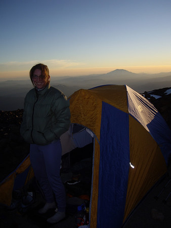Laura at Sunset with Mt. St. Helens in the background.