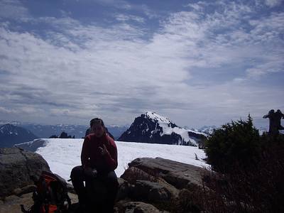 On top, with Mt. Index in the background.