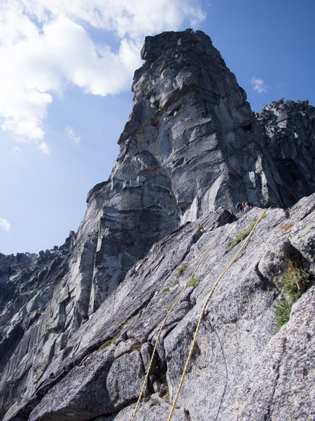 The Gendarme guards access to the summit with several pitches of 5.9 climbing