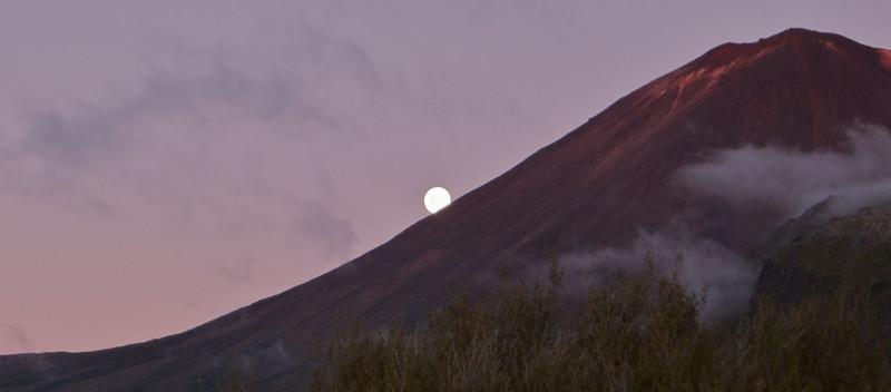 Moon comes up behind Mt Ngauruhoe