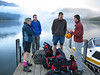 Marion, Alistair, Steve and Marc ready before 7am for crossing Lake Rotoiti