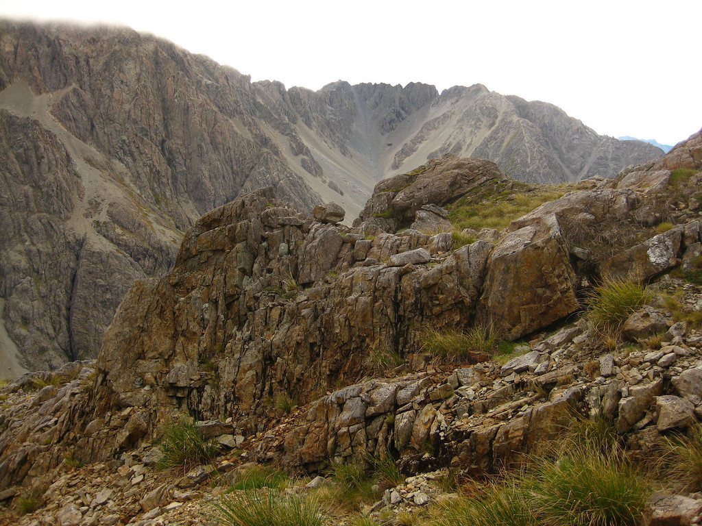 Ascending head of the valley with Angelus Ridge in the background
