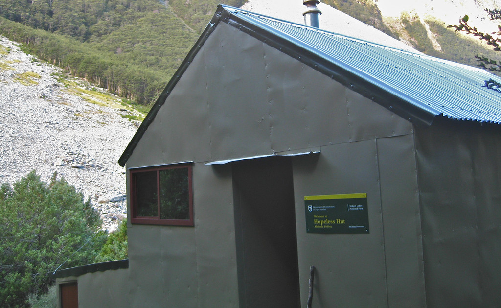 Hopeless Hut, built by NZ Alpine Club and opened by Ed Hillary in 1967