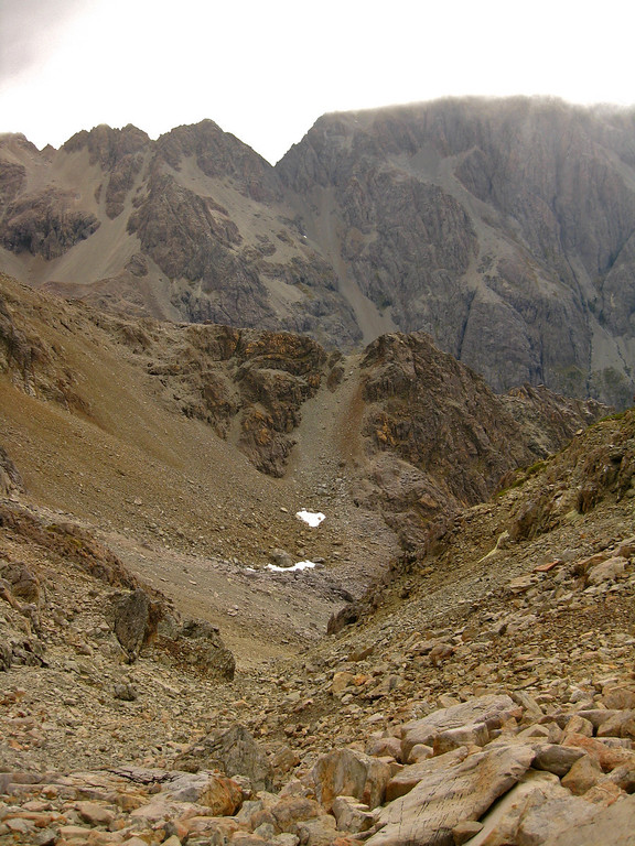 Scree slopes crossed to gain the north ridge of Mt Hopeless