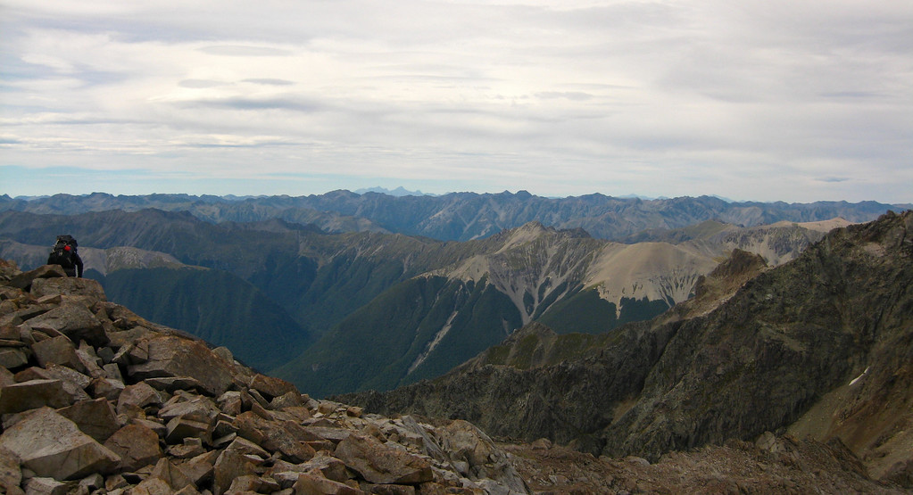 Lunchtime view over NE ridge of Hopeless to Nelson Lakes NP, and Kaikoura ranges in the far distance.