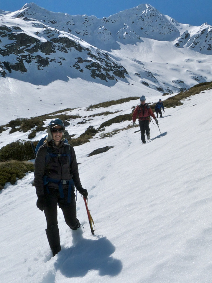 The firm crust has well and truly gone and we plough through deep, weak, sugary snow back to the hut...