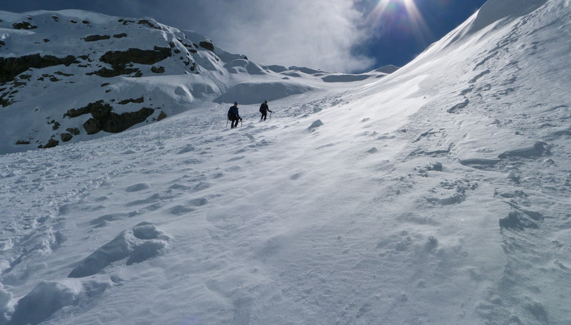 The snow was becoming very soft on the ridge so around midday we made the call to descend easy slopes back into  Paske Ck