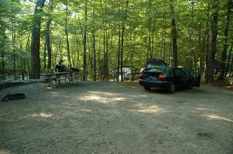 Packing up the campsite at Lafayette on Friday morning.