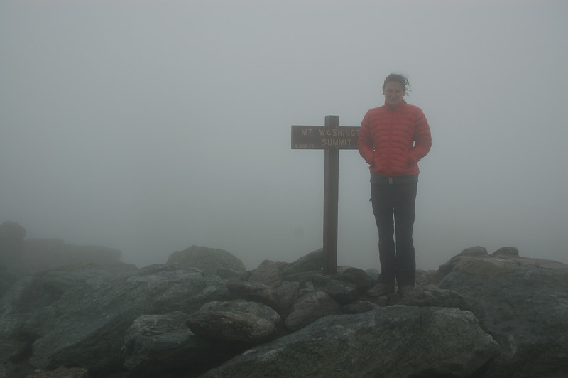 The top of Mount Washington, about 1 PM.  45 degrees or so, wind blowing about 30, visibility 30 feet.