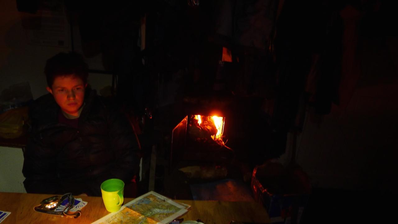 Evening in Brodrick Hut (by Alison Davis)