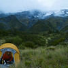 Camp set up at the bush line near Brodrick hut