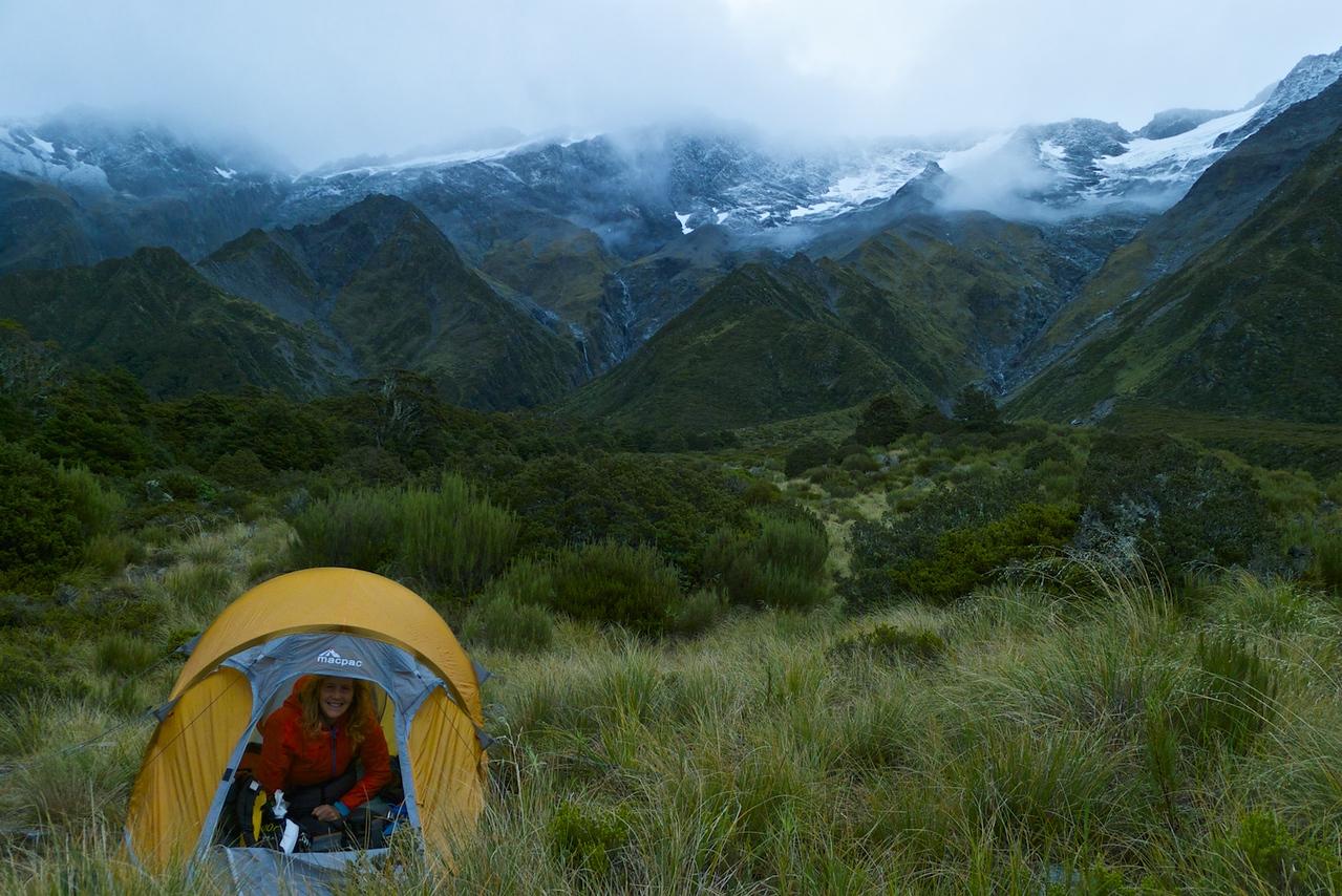 Camp set up at the bush line near Brodrick hut