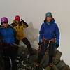 Helen, Peter and Alison climbed rock with crampons on to reach the summit