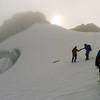 Descending the top snowfield.