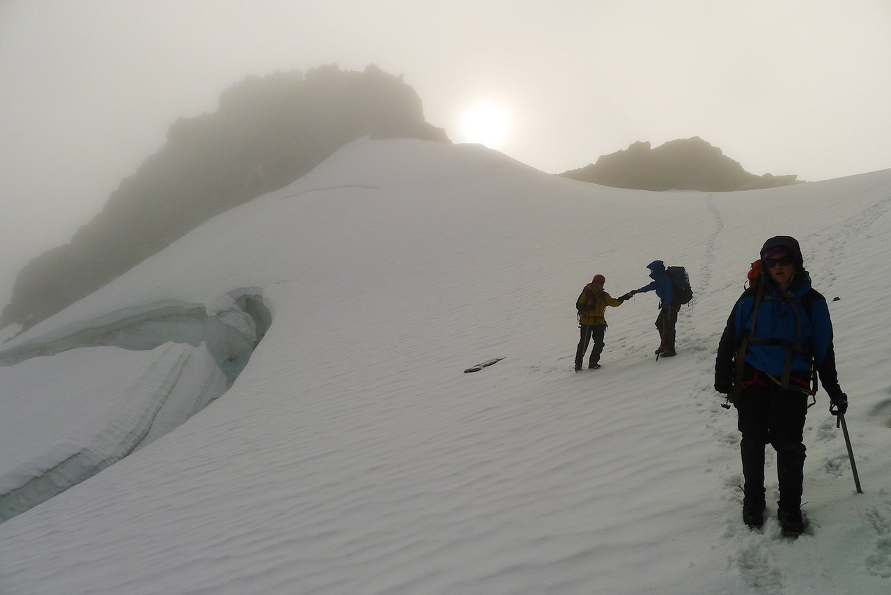 Descending the top snowfield.