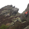 Max on a 7a slab at Ramshaw