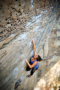 Climbing while pregnant: Dream Of A Bee 5.8 @ Torrent Falls Climber: Emily Ventura